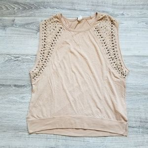 Boho Rocker Free People Studded Sleeveless Shirt